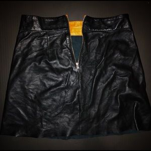 Zara woman black high waisted leather skirt zip